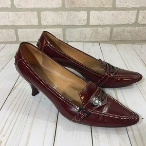 Tod's Burgundy Patent Leather Pumps 37.5